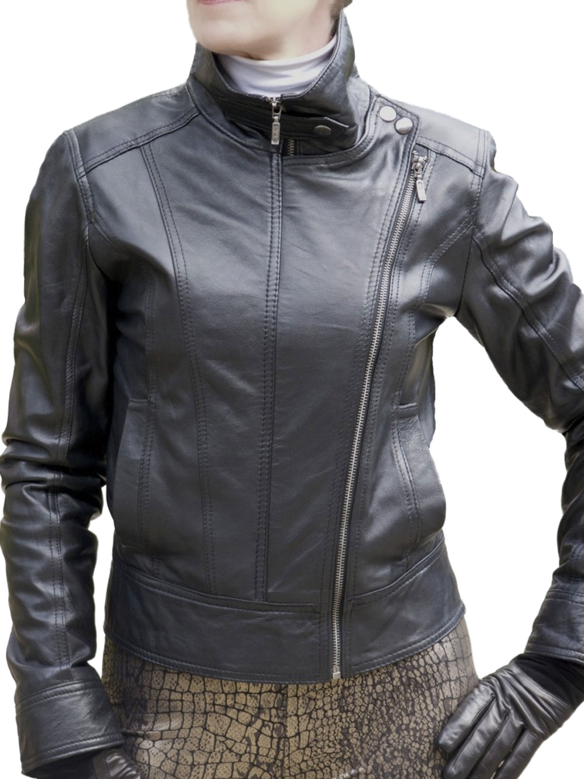 Womens Black Leather Jacket Double Front Zip Tout Ensemble