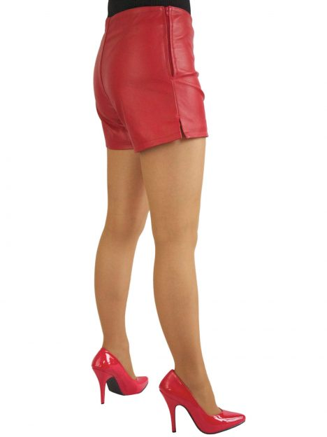 Ladies Red Leather Hot Pants Shorts