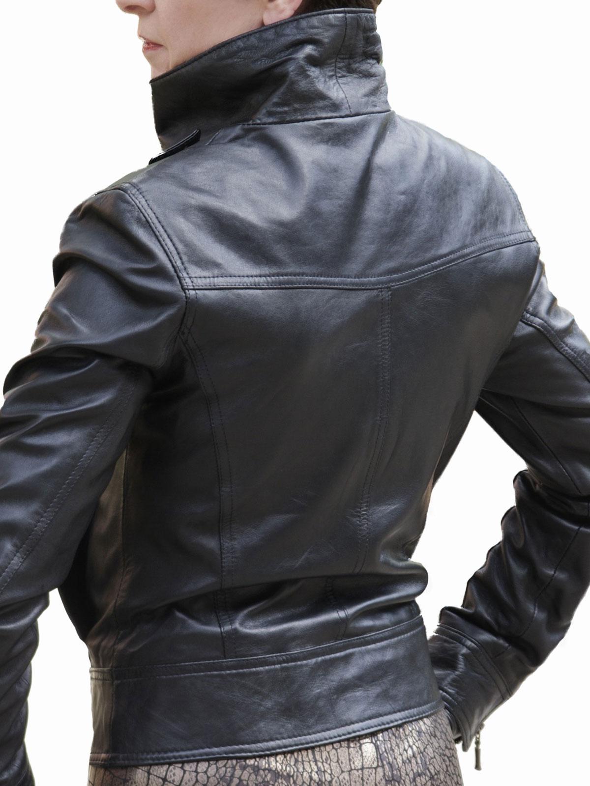 Womens Black Leather Jacket Double Front Zip Tout Ensemble