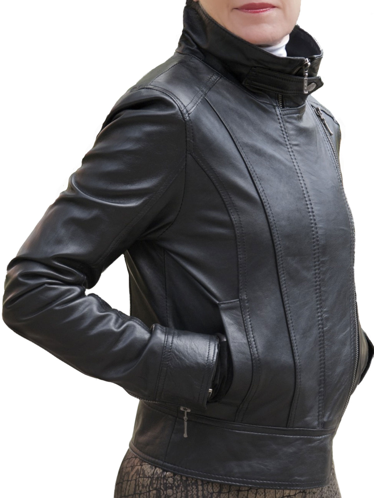 Leather jacket with zippers