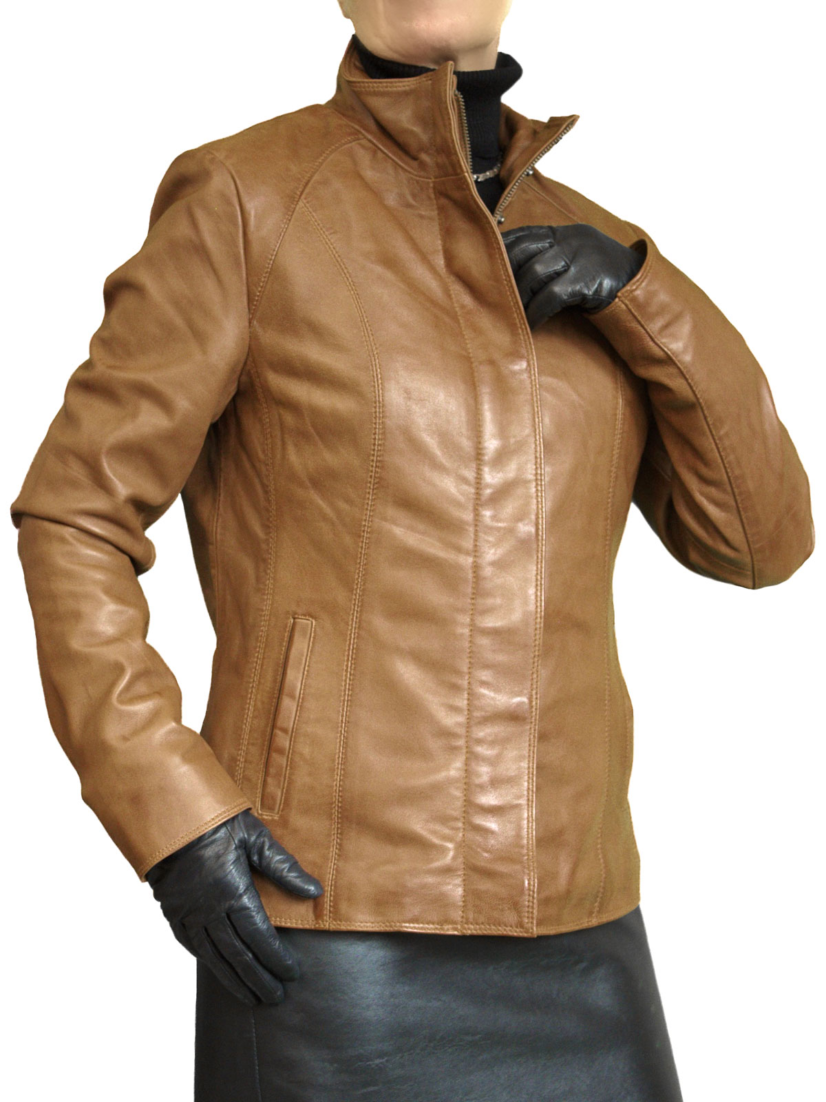 Ladies Cognac Tan Luxury Leather Jacket