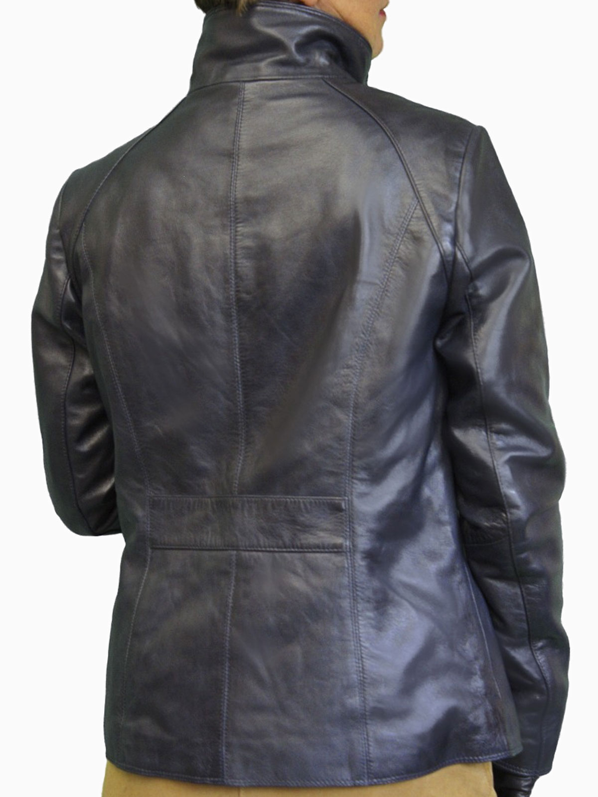 Womens Luxury Leather Jacket With High Collar Tout Ensemble
