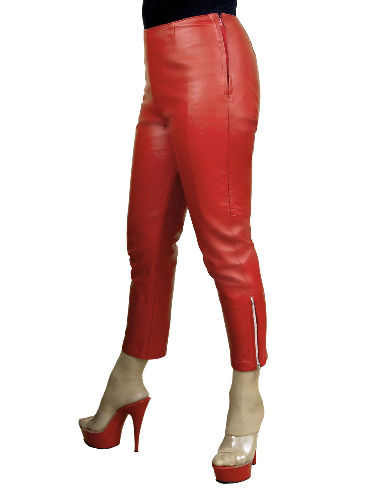 f020474a26a37 Womens Tight Leather Crop Trousers (5 colours) - Tout Ensemble