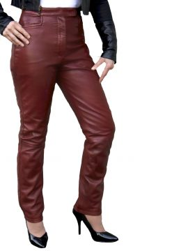 Ladies Burgundy Luxury Leather Trousers