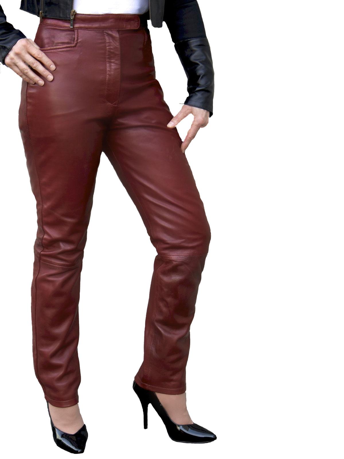 Ladies Burgundy Luxury Leather Trousers