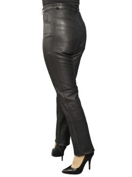 Ladies Black Slim Fit Leather Trousers, matt finish, belt loops