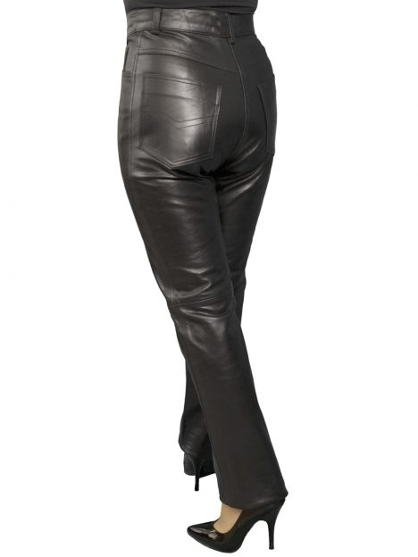 Womens Black Leather Trousers Jeans, glazed finish