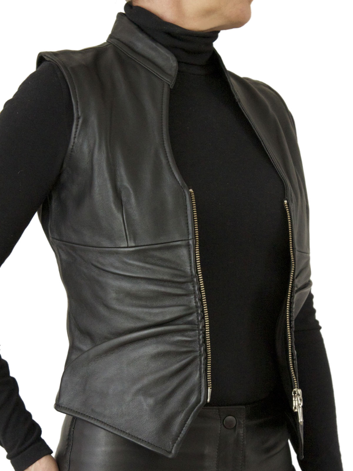 Womens Leather Waistcoat Ruched With Front Zip Tout