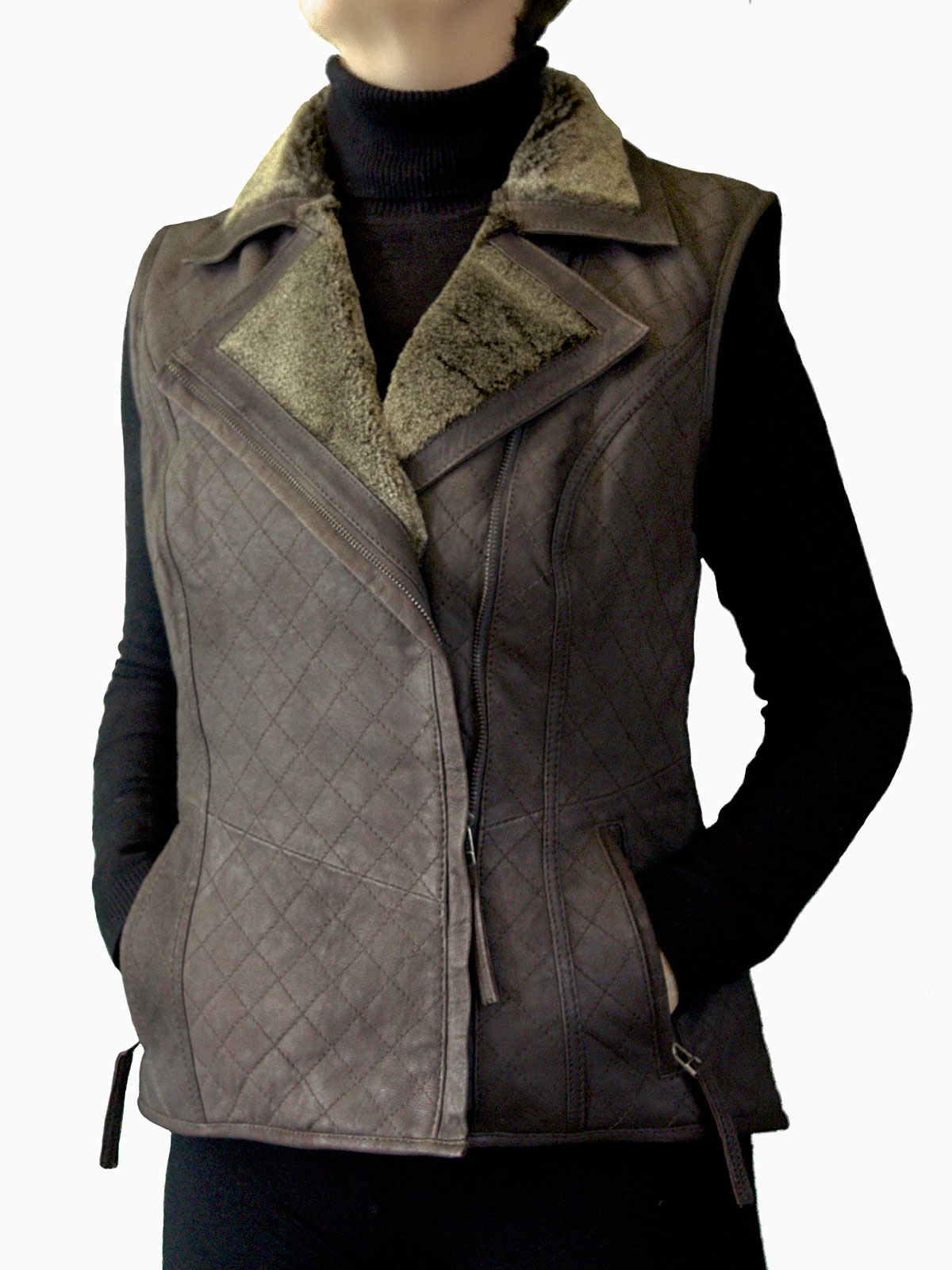 Ladies Brown Leather Gilet faux fur collar