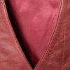 Ladies Cherry Red Leather Waistcoat lining