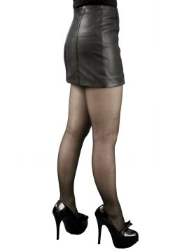 Black 12in Panelled Leather Mini Skirt