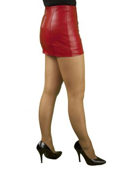 Red 12in Panelled Leather Mini Skirt