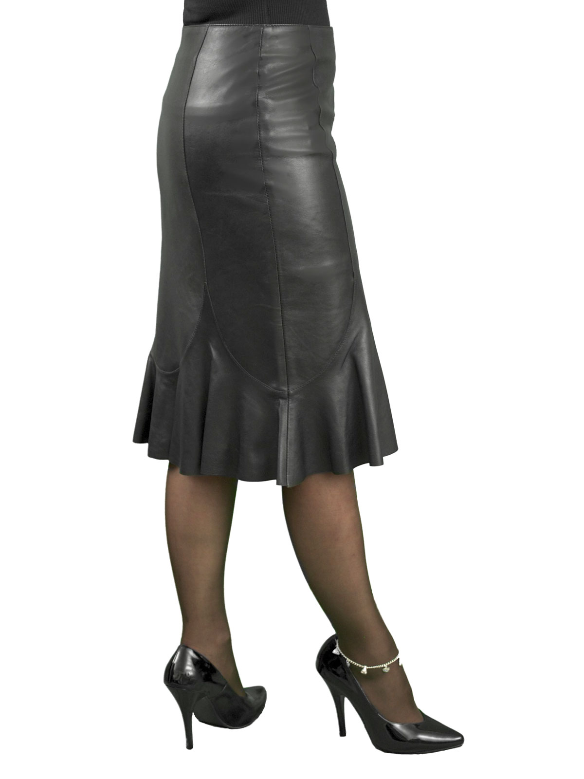 Fishtail Leather Skirt, below knee length - Tout Ensemble