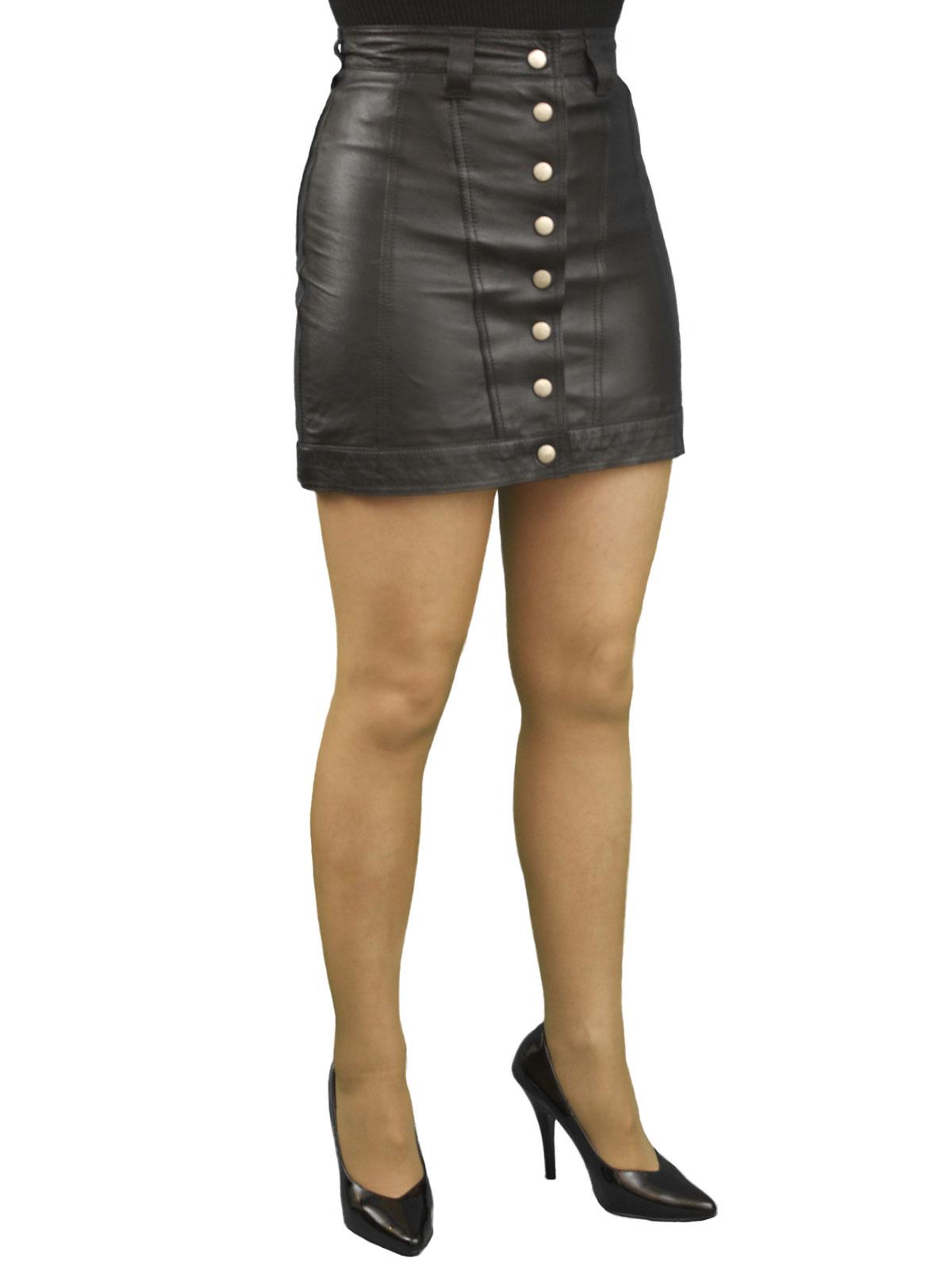 Leather Mini Skirt, Front Stud Opening - Tout Ensemble