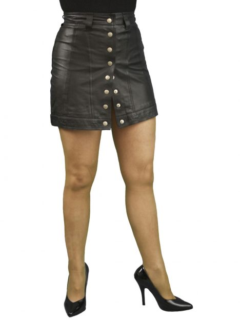 Leather Mini Skirt Front Stud Opening Tout Ensemble
