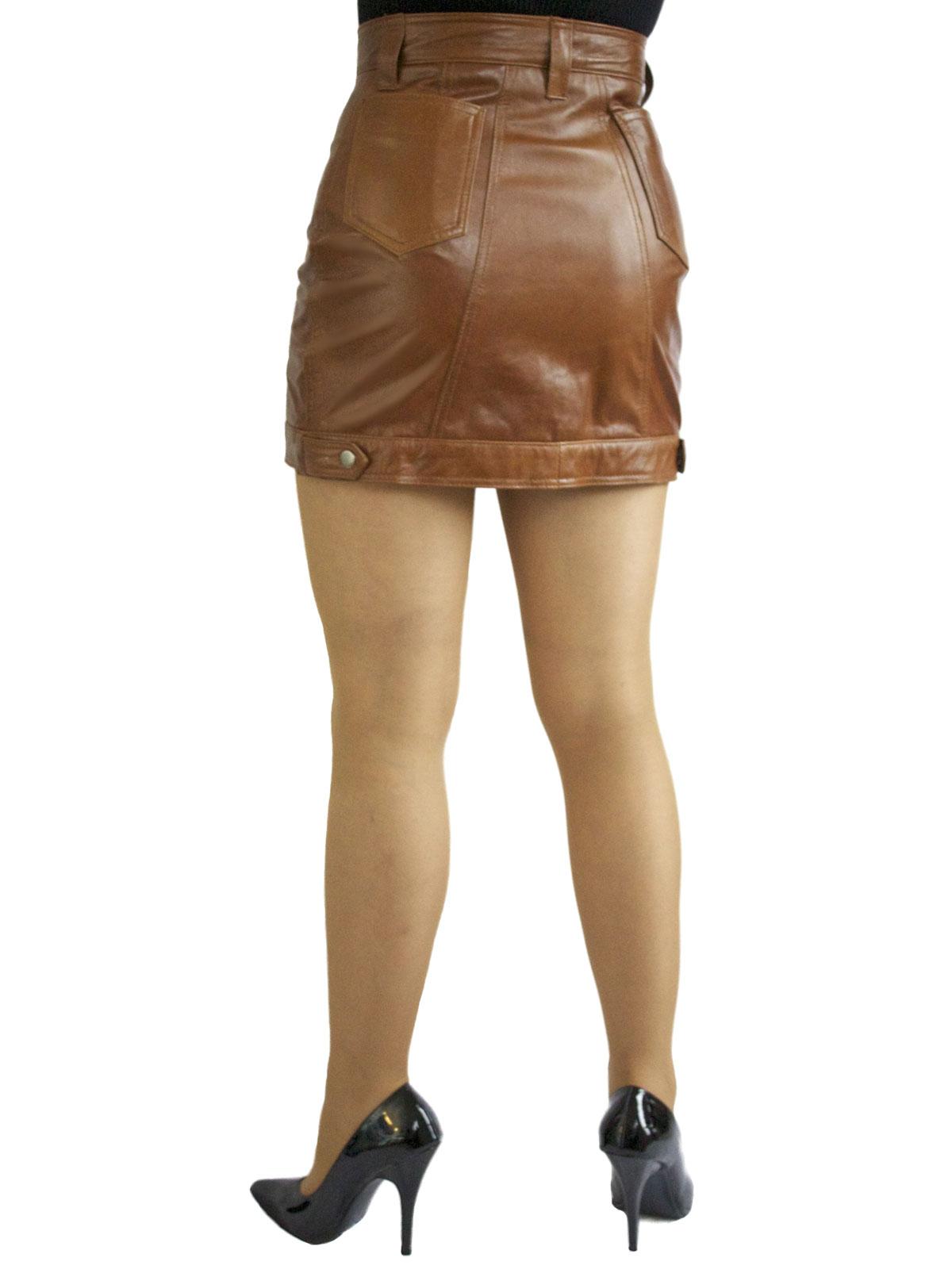 Leather Mini Skirt Front Stud Opening Tout Ensemble
