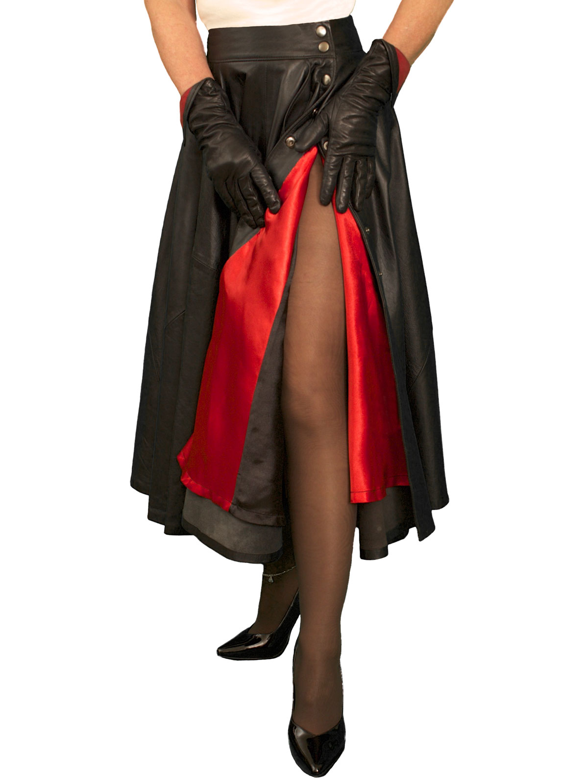 Black Leather Full Midi Skirt, black/red lining - Tout Ensemble