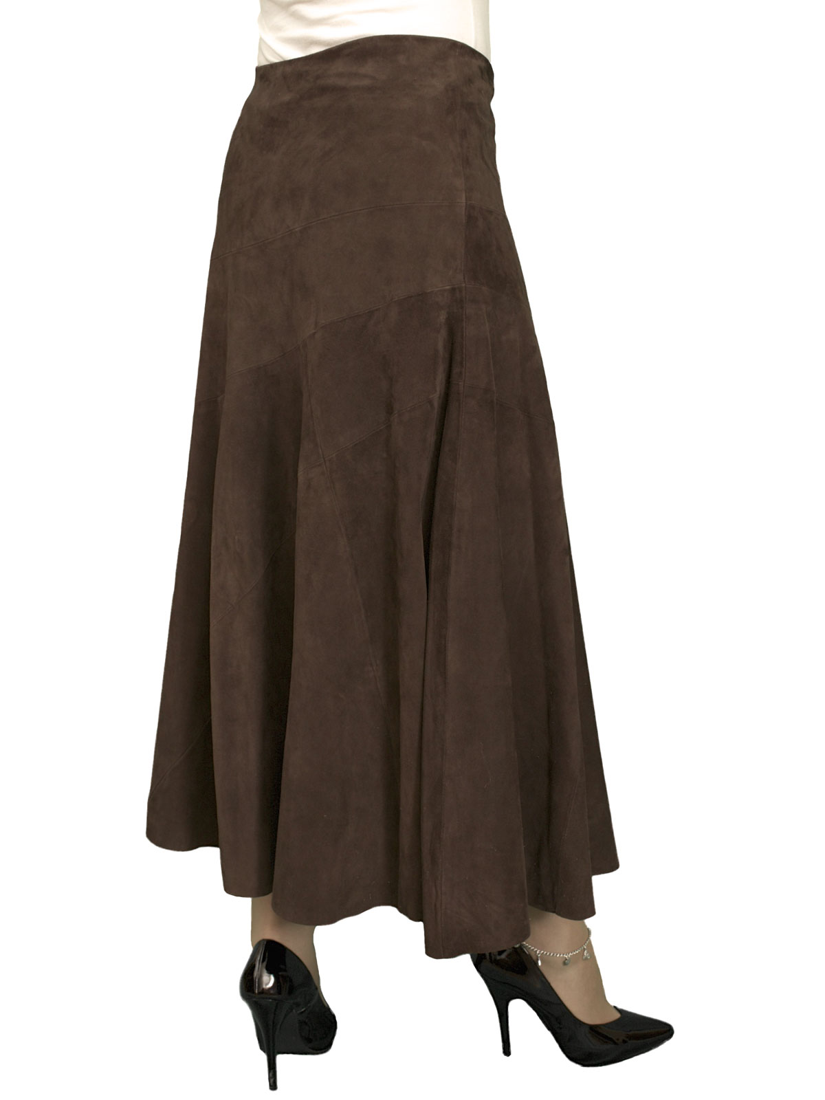 Brown long suede full midi skirt