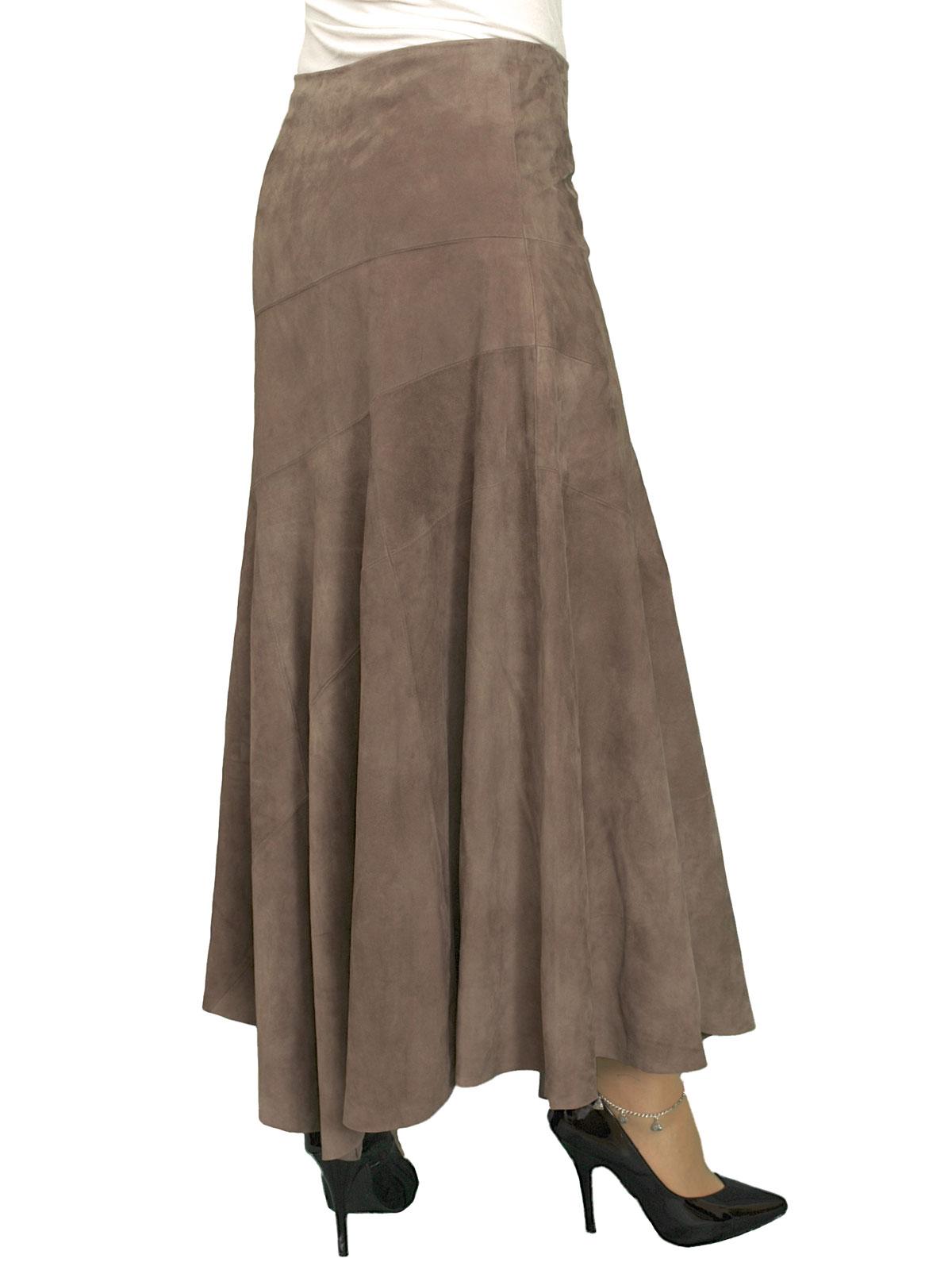 Long Suede Asymmetric Full Skirt Midi Length 6 Colours