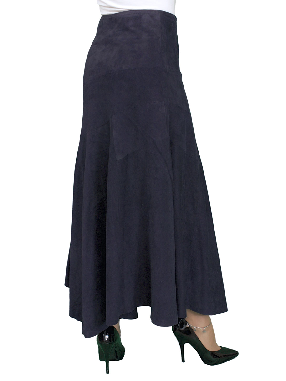 Long Suede Asymmetric Full Skirt, midi length (6 colours ...