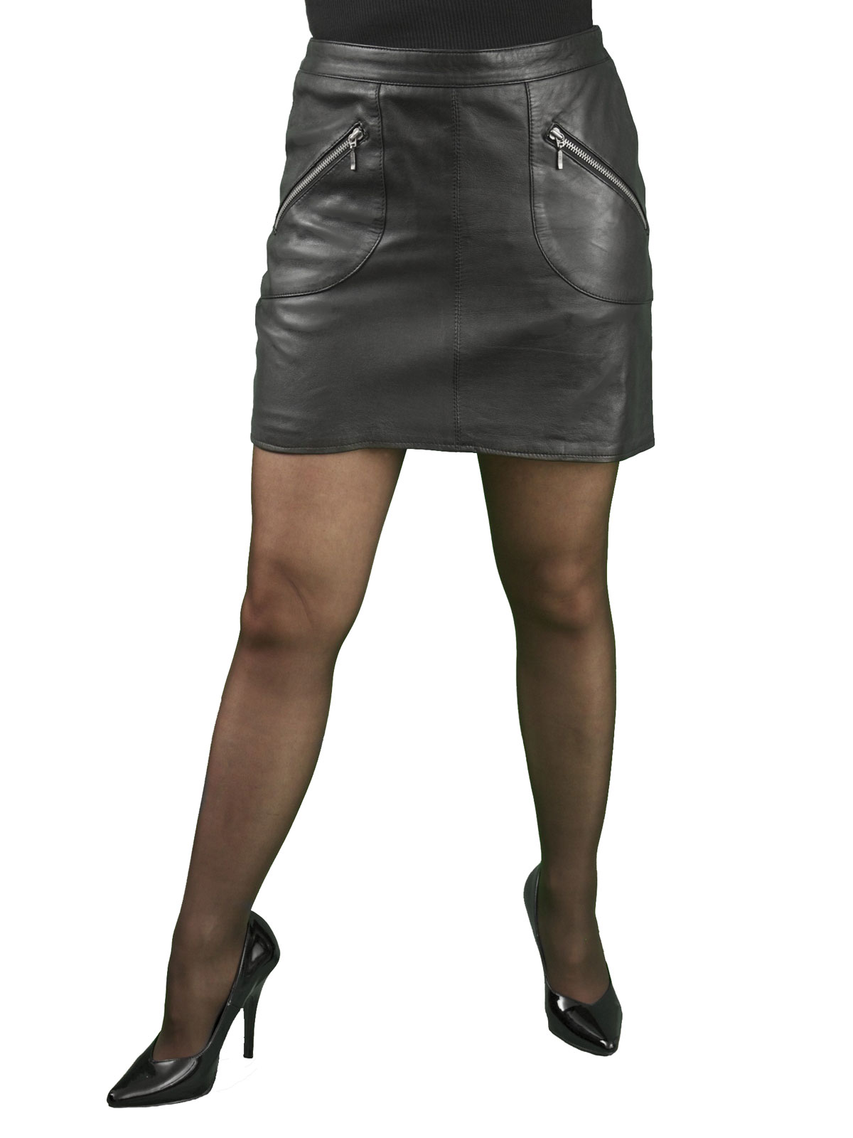 Black leather hipster mini skirt zip pockets