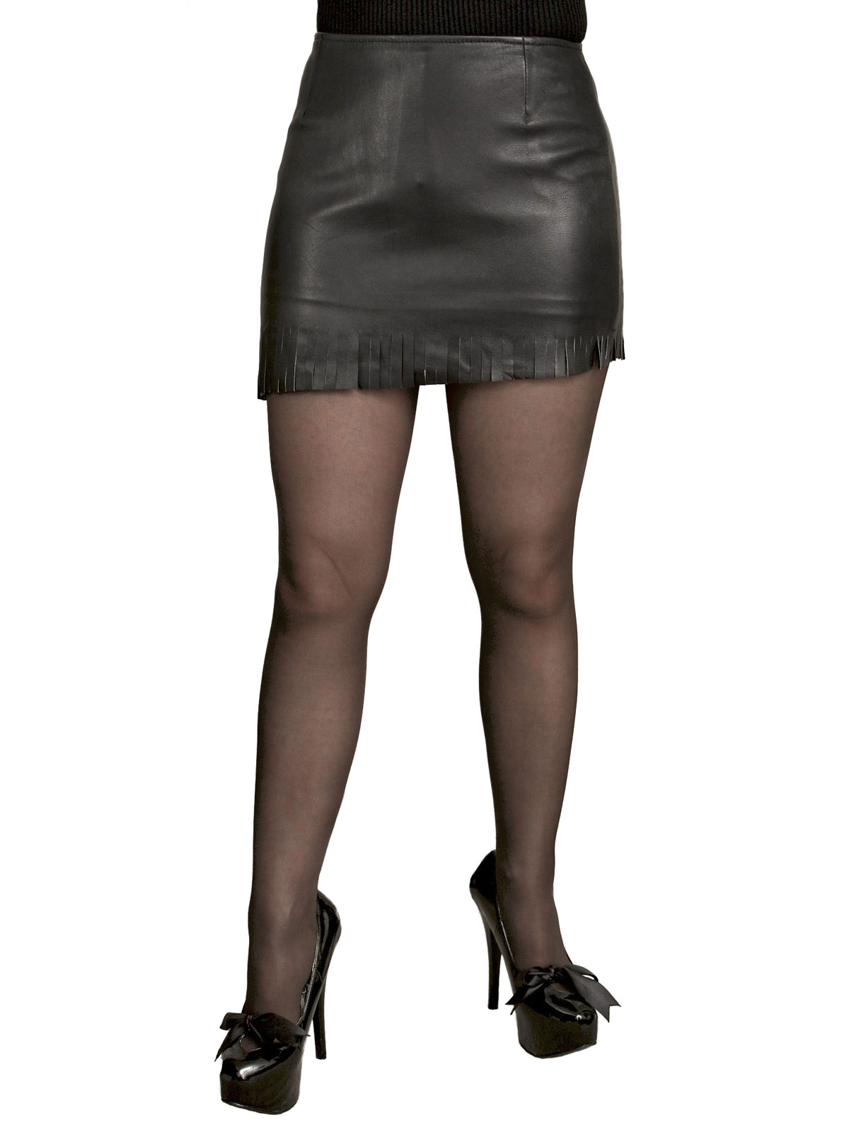 Soft Leather Mini Skirt with Fringed Slant Hem - Tout Ensemble