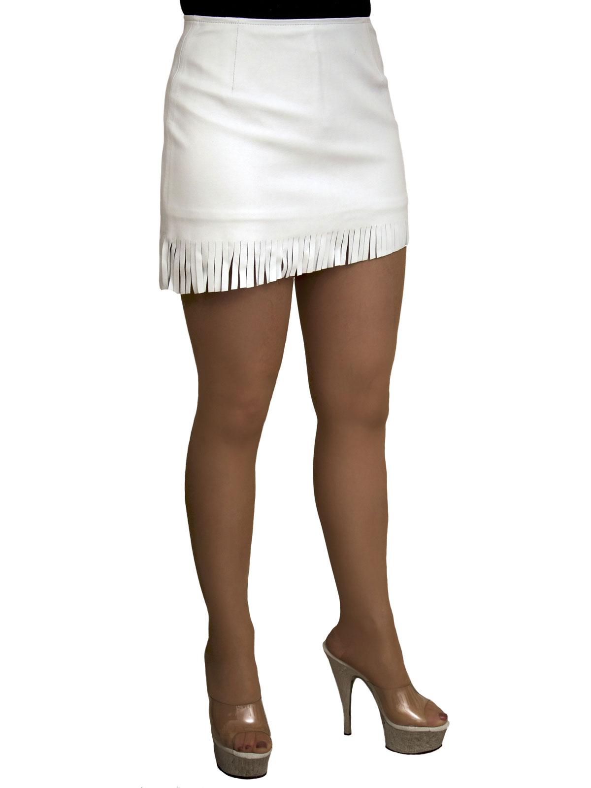 Soft Leather Mini Skirt with Fringed Slant Hem