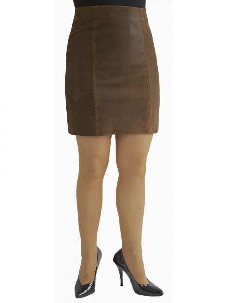 Brown Suede Mini Skirt laced seams