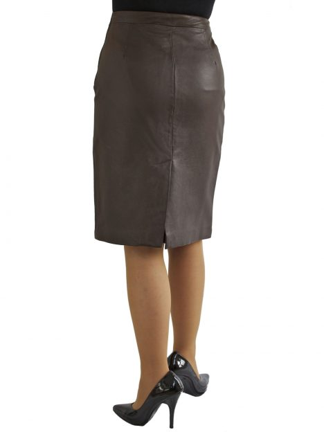 Brown Leather Knee Length Pencil Skirt with back split