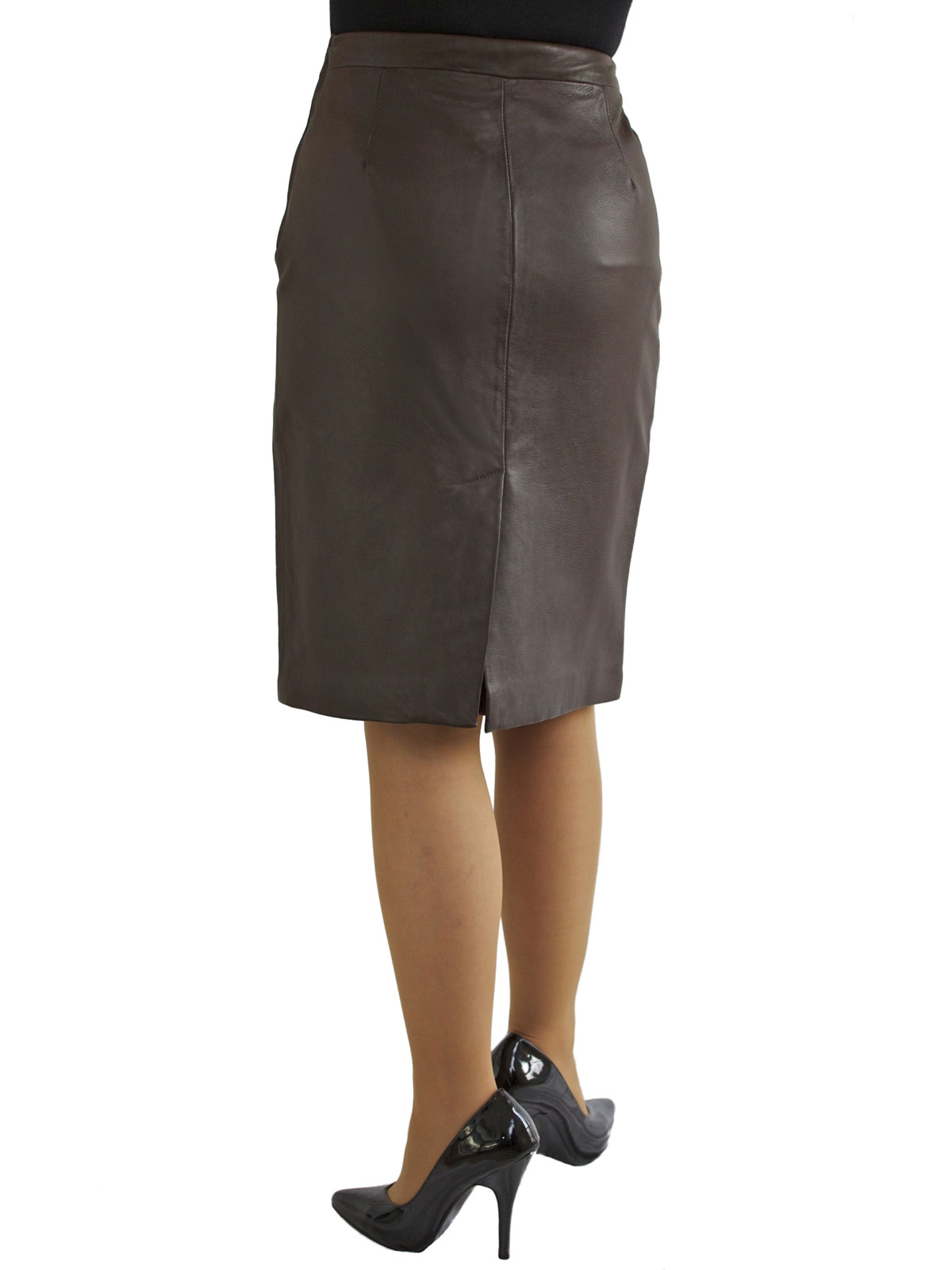 luxury leather pencil skirt with back split 2 colours