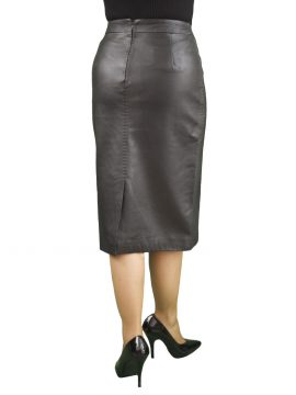 Black Soft Leather Pencil Midi Skirt, back split