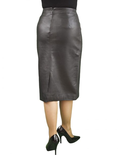 Black Soft Leather Pencil Midi Skirt, back split
