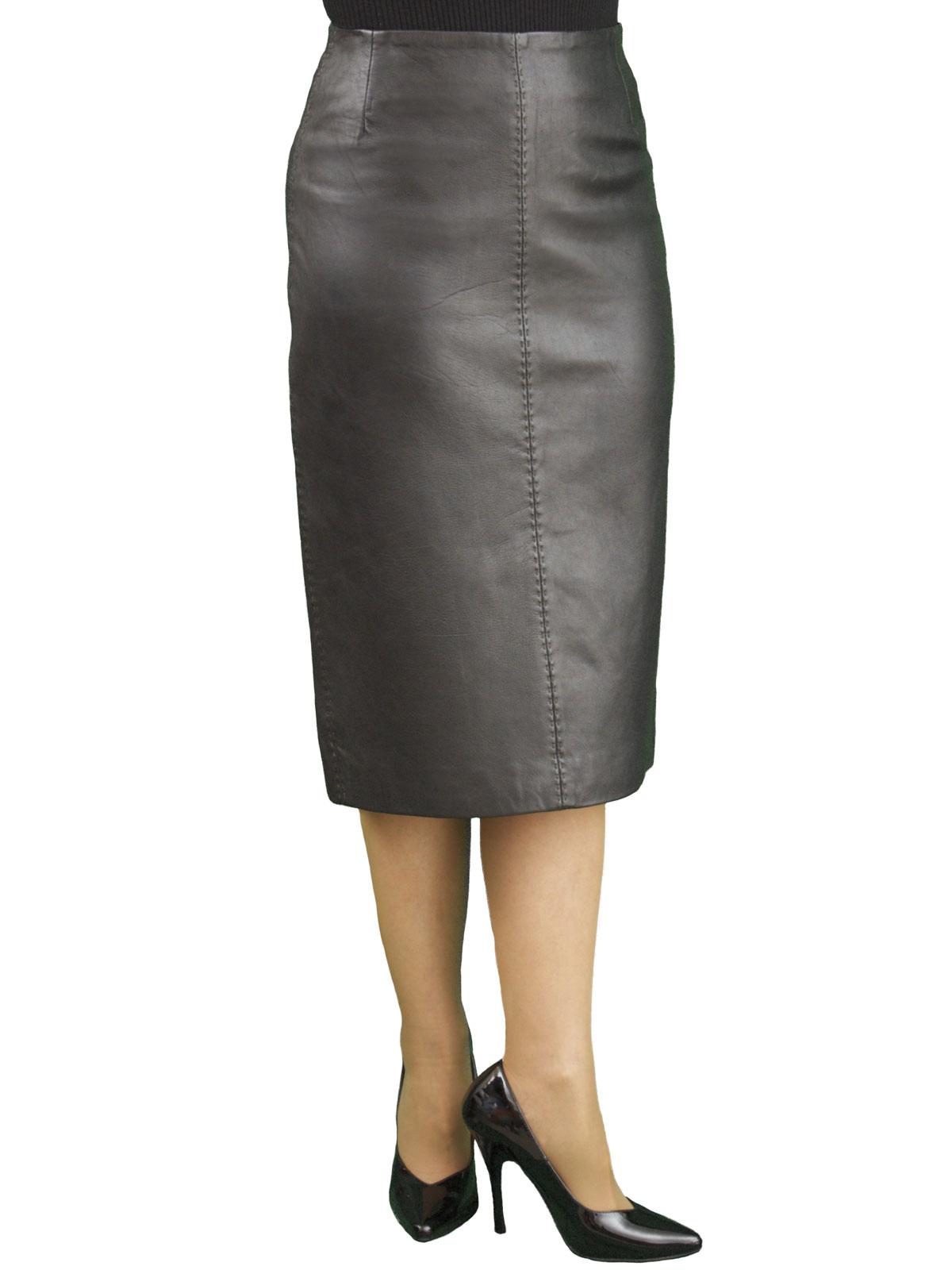 ... Black Soft Leather Pencil Midi Skirt 903b9b58ba4