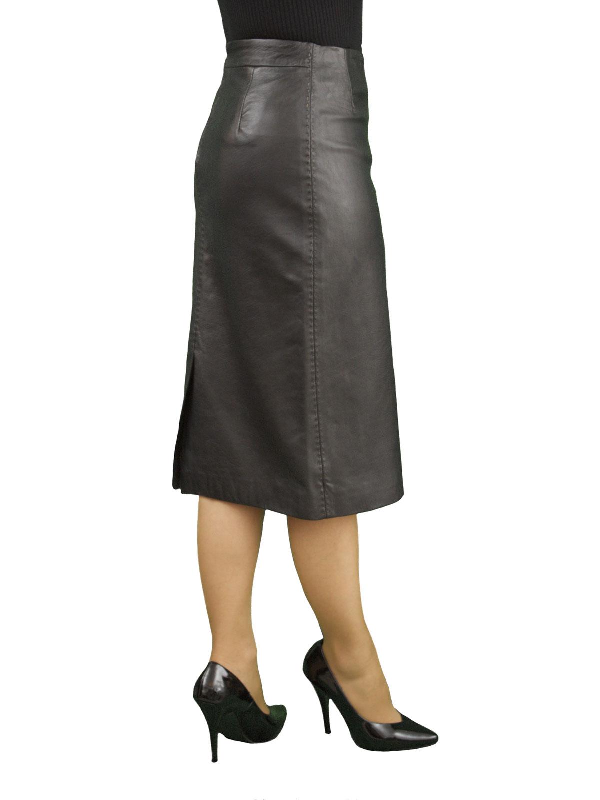 black soft leather midi pencil skirt back split tout
