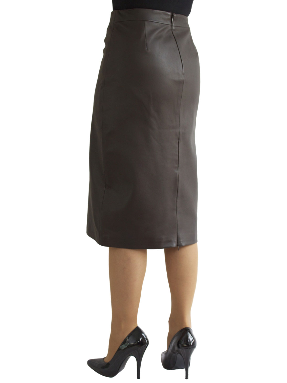 aa268000ed13 Brown Leather Pencil Midi Skirt rear zip vent