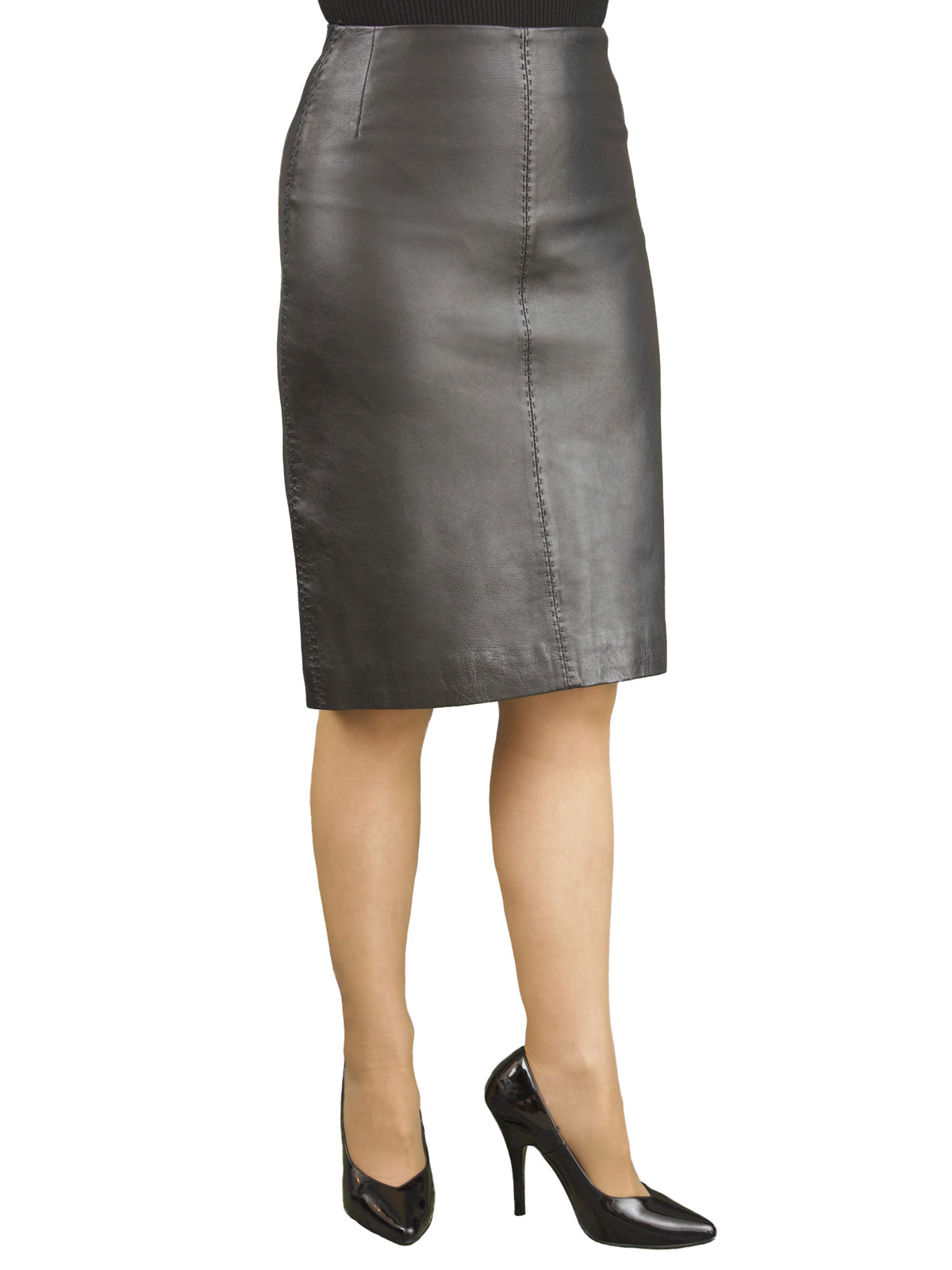 Luxury Leather Pencil Skirt with back split - Tout Ensemble