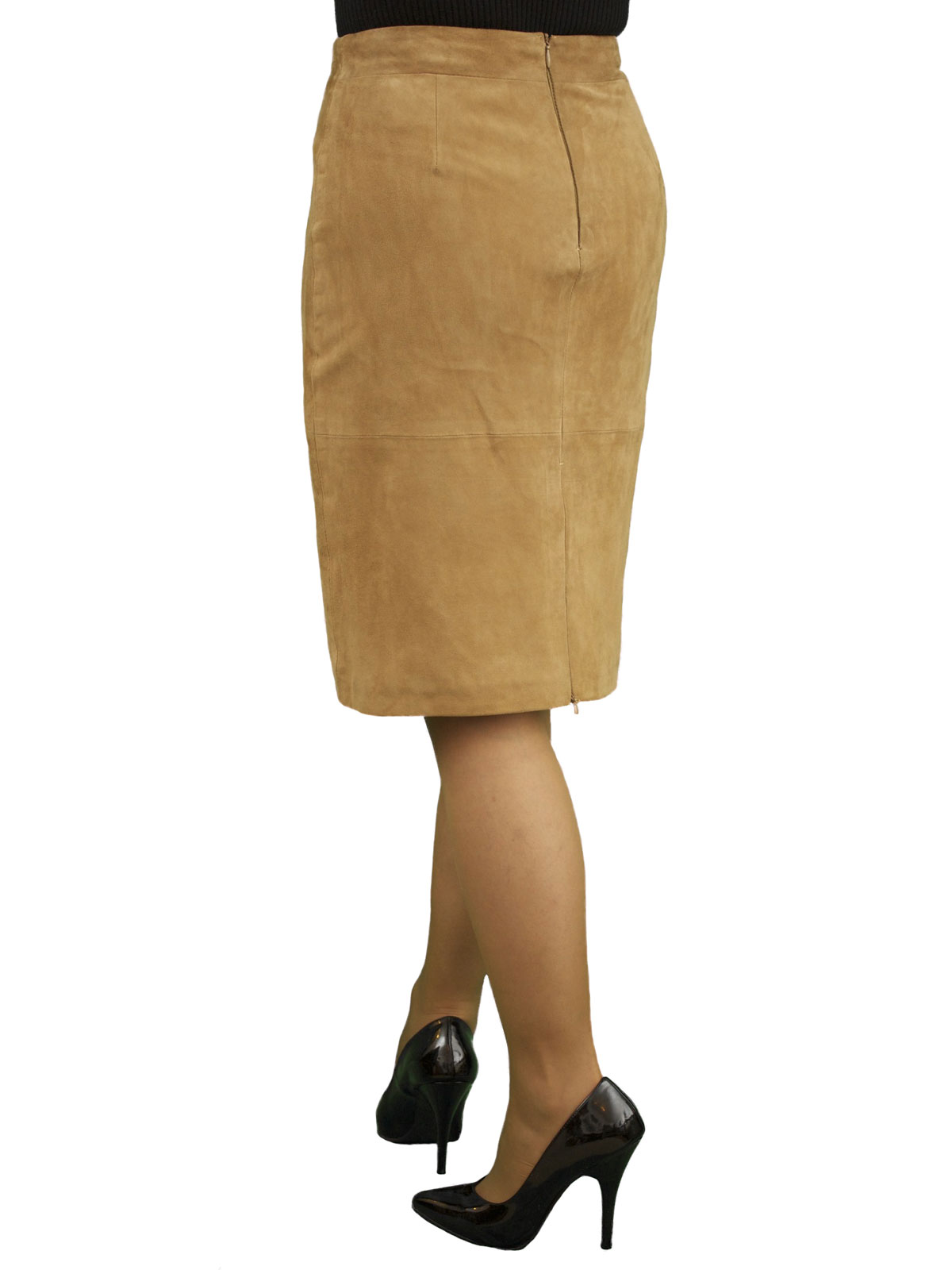Tan Suede Knee Length Pencil Skirt rear zip vent