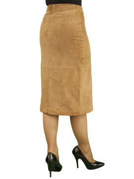 Tan Suede Midi Pencil Skirt rear zip vent