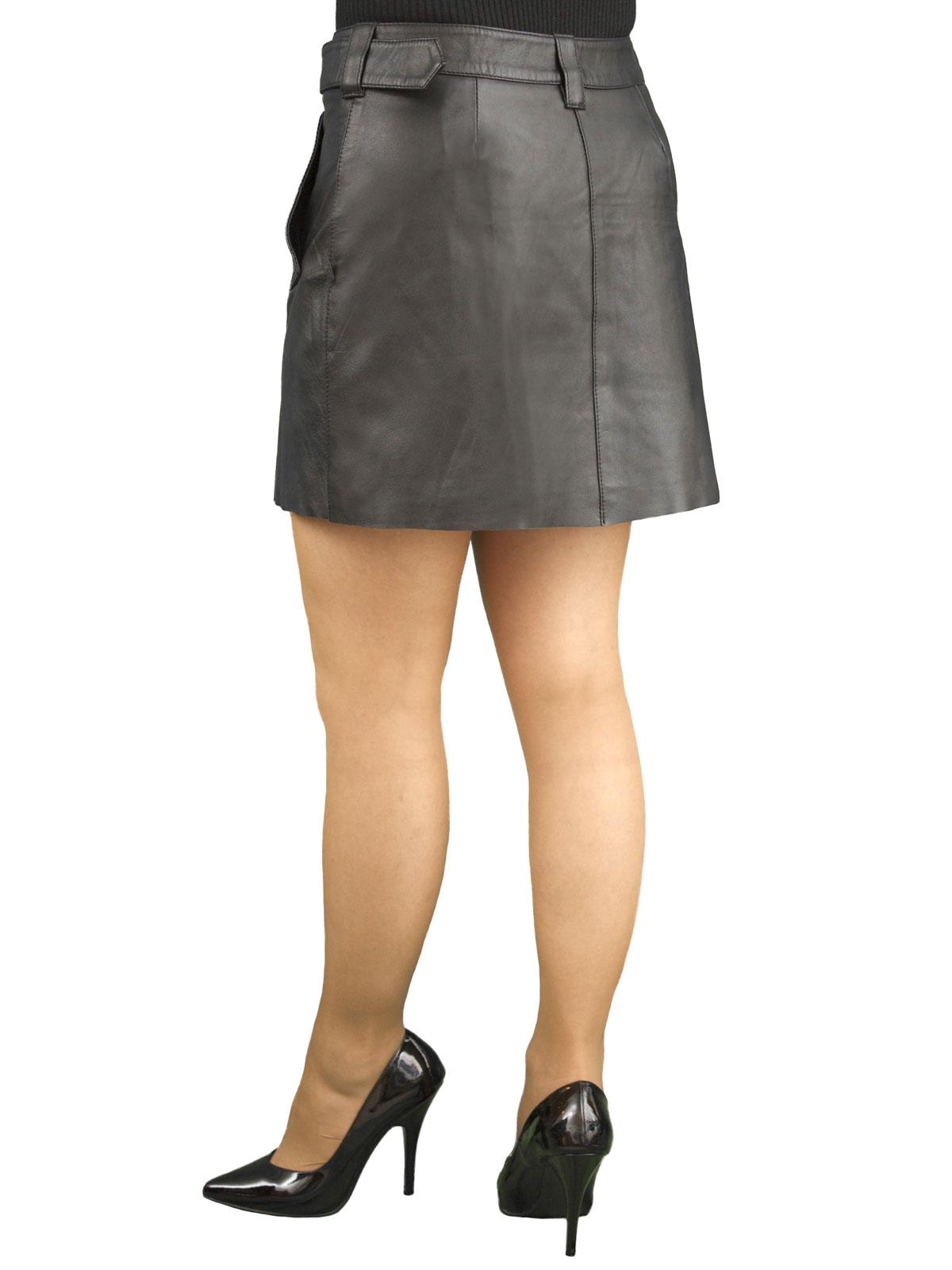 Black Leather Hipster Mini Skirt, buckle belt - Tout Ensemble