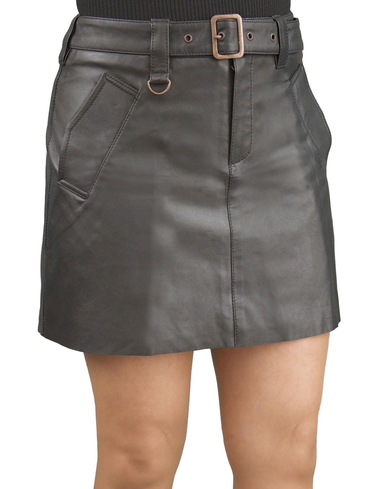 Black Leather Hipster Mini Skirt Buckle Belt Tout Ensemble
