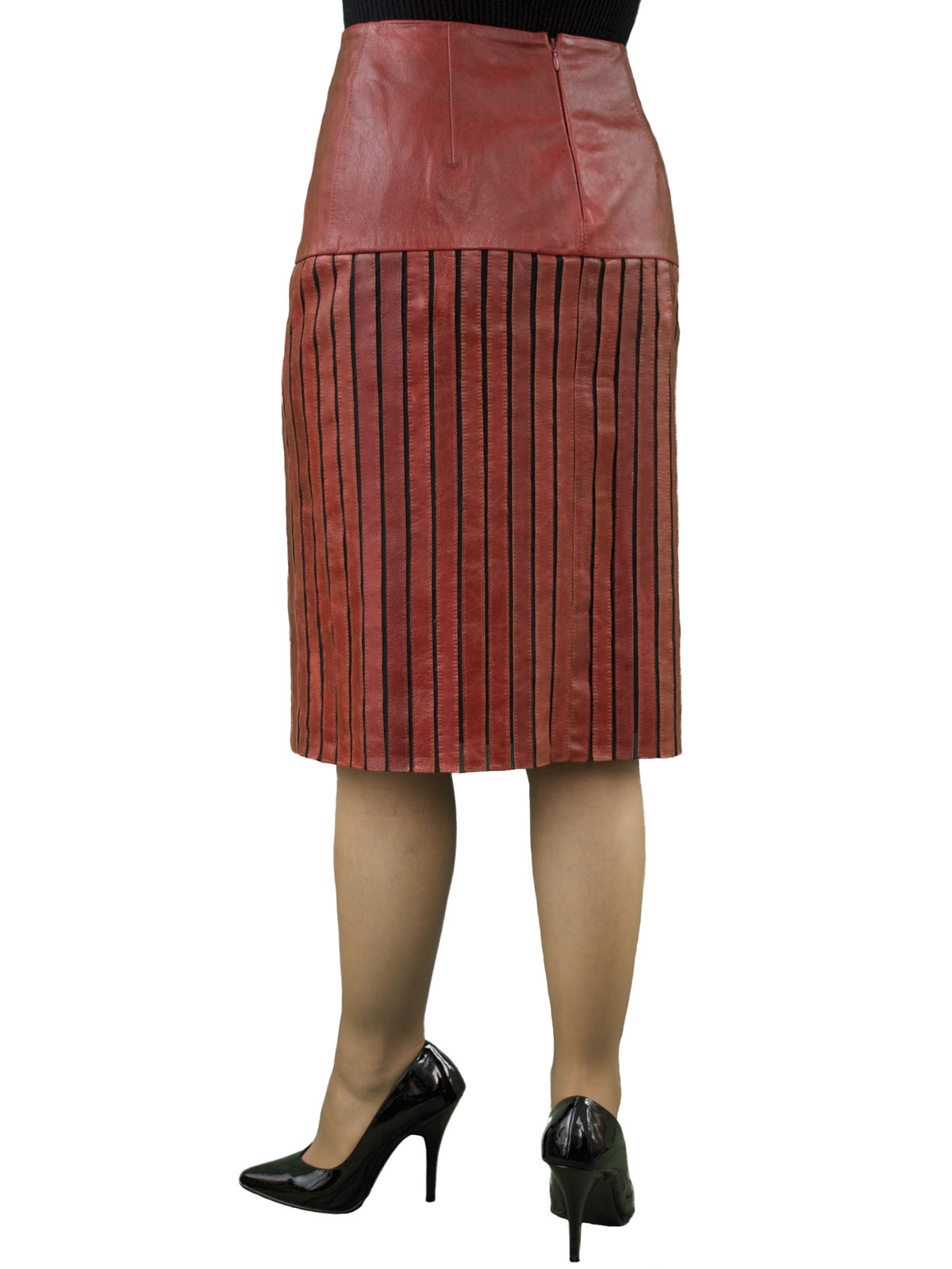 Red leather lycra strip pencil skirt
