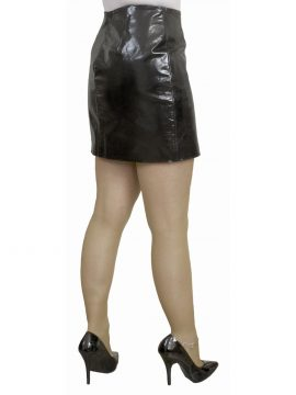 Black patent leather mini skirt