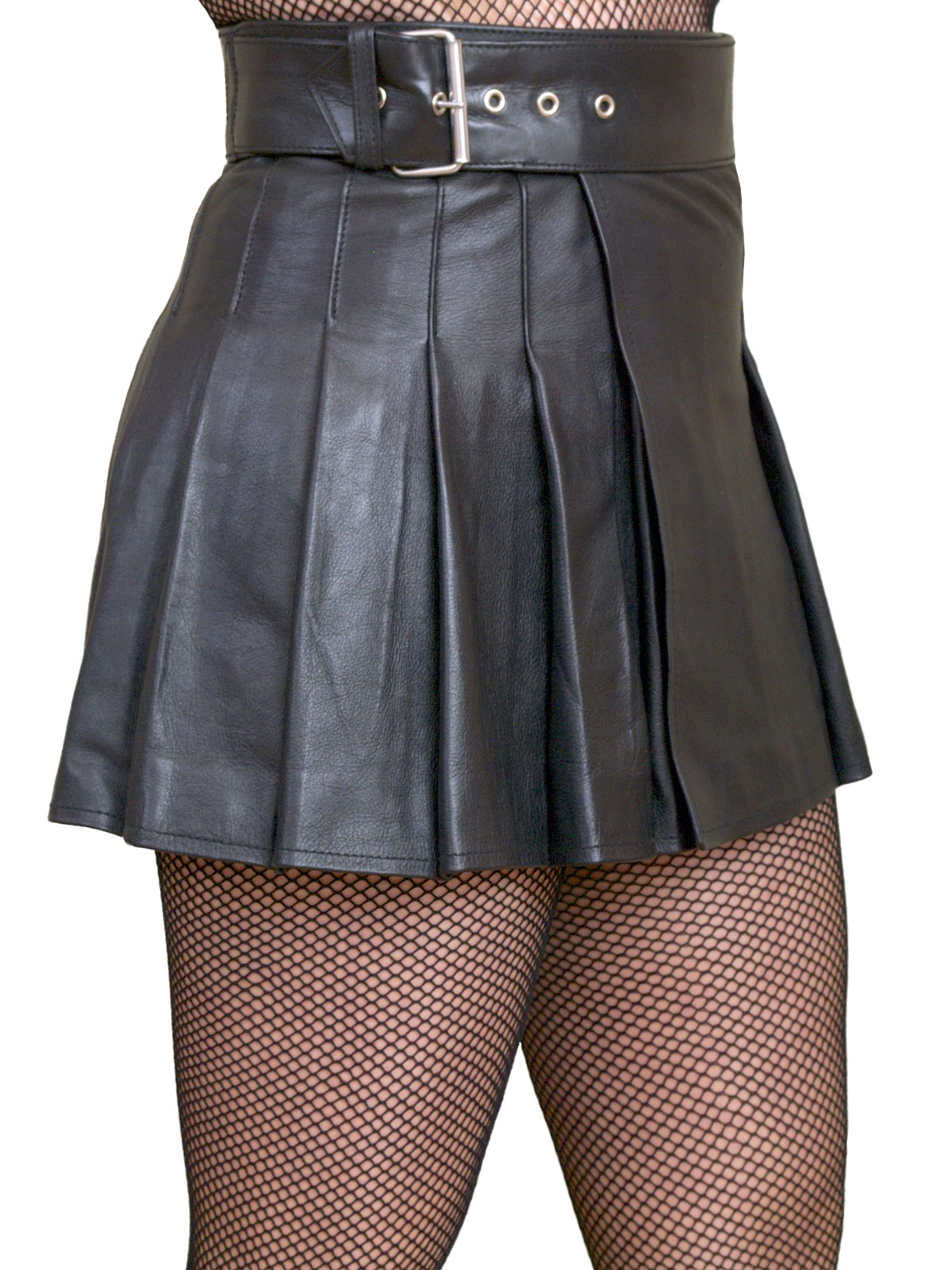 Ladies Black Leather Mini Skirt Kilt
