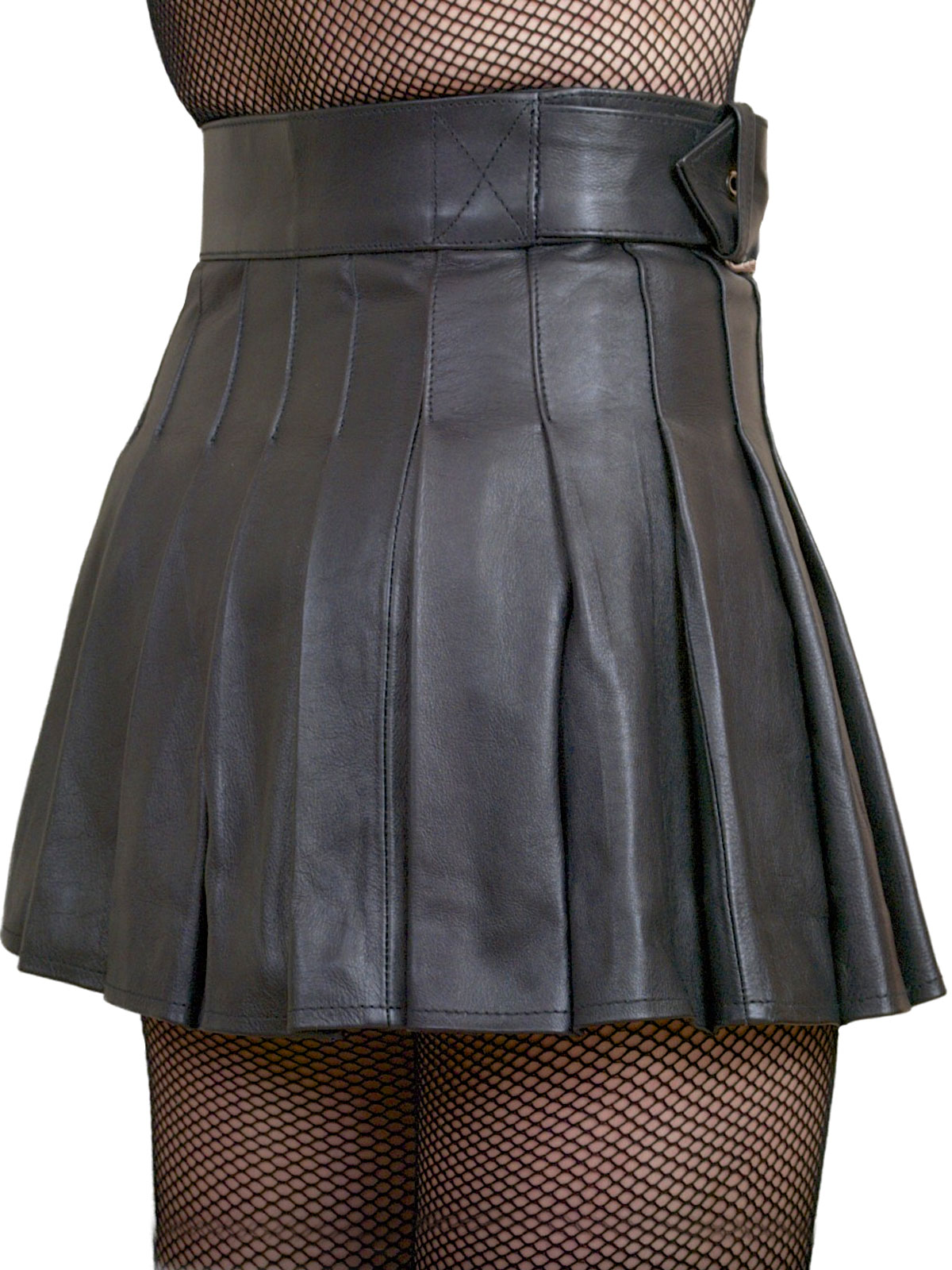Wrap Around Leather Mini Skirt Kilt Tout Ensemble