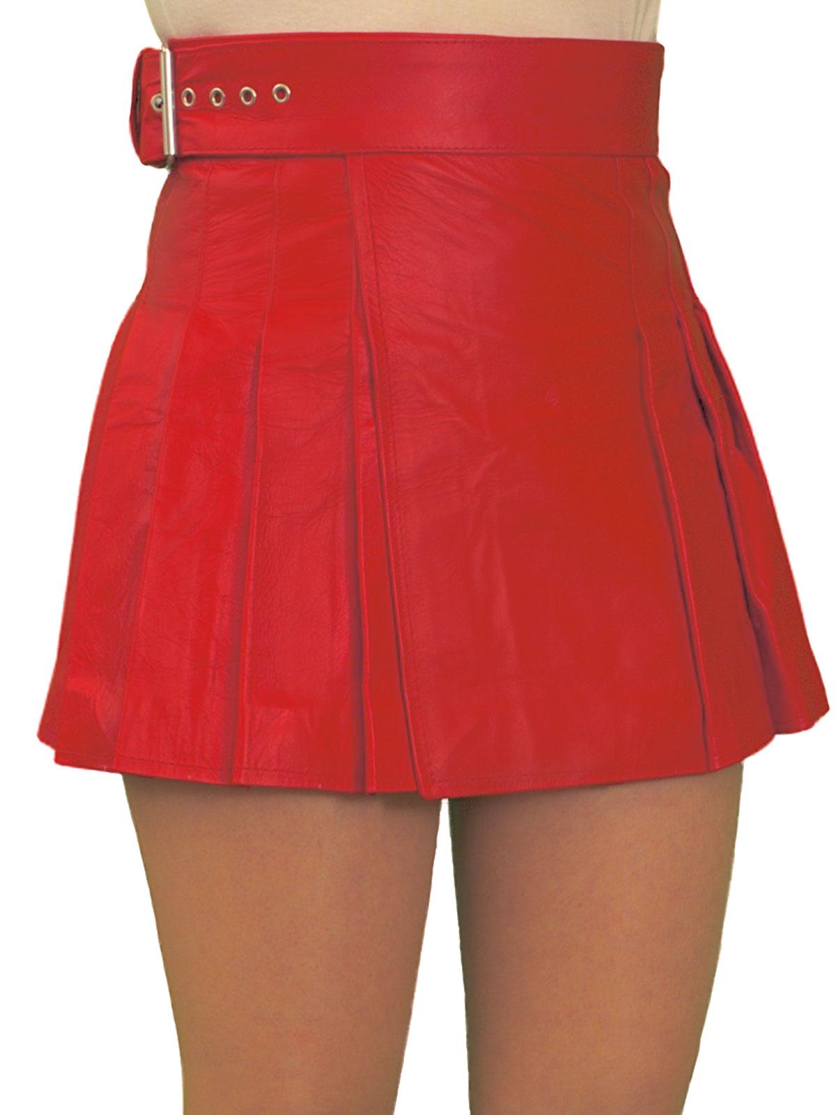 Ladies Red Leather Mini Skirt Kilt