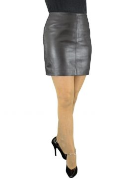 Black Leather Mini Skirt, classic plain