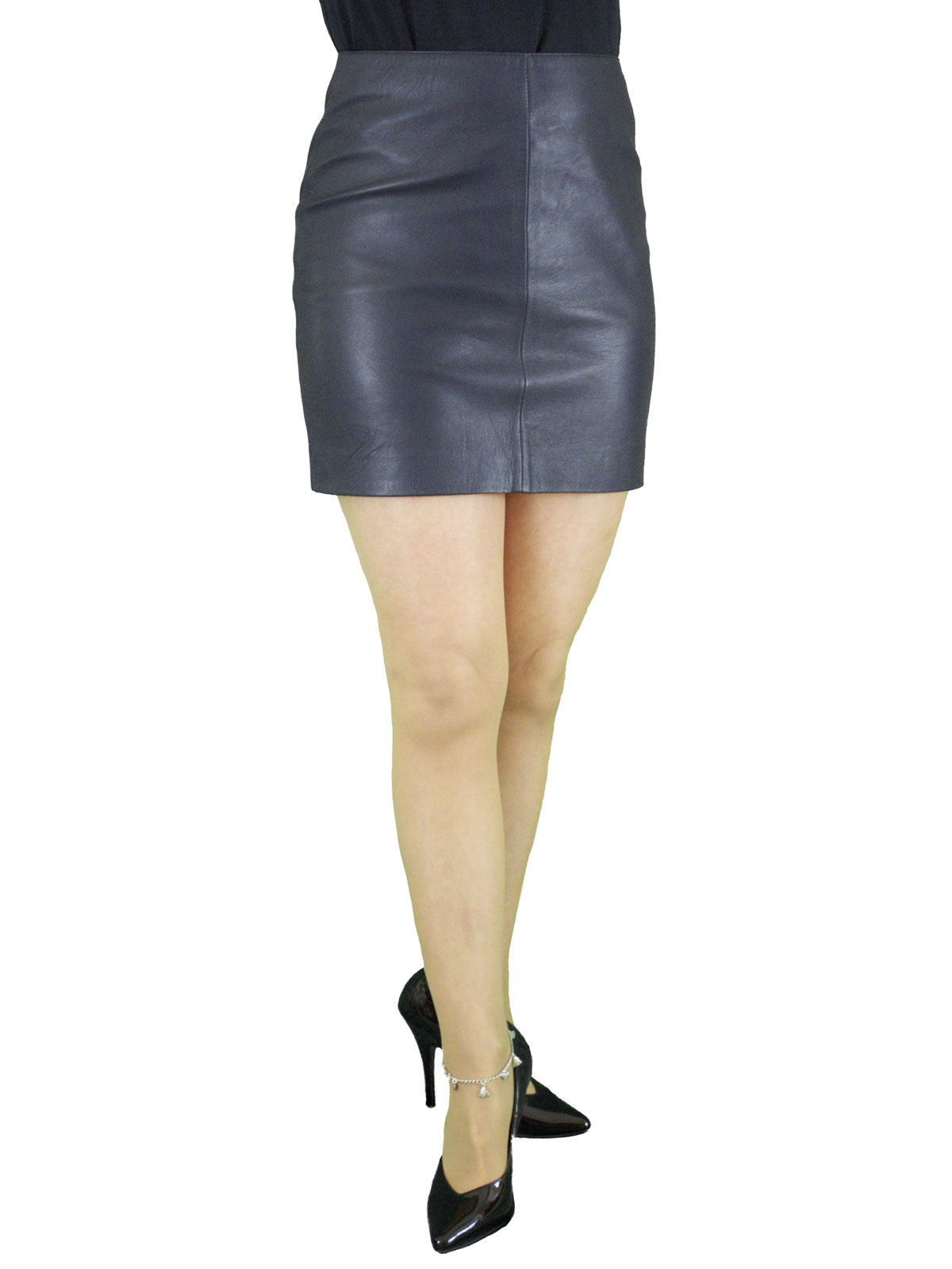 Navy Leather Mini Skirt, classic plain