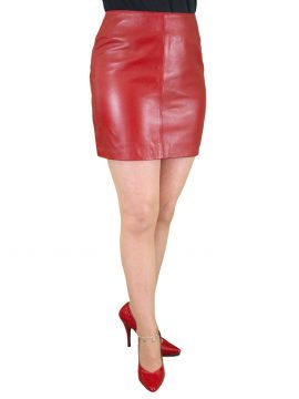 Red Leather Mini Skirt, classic plain