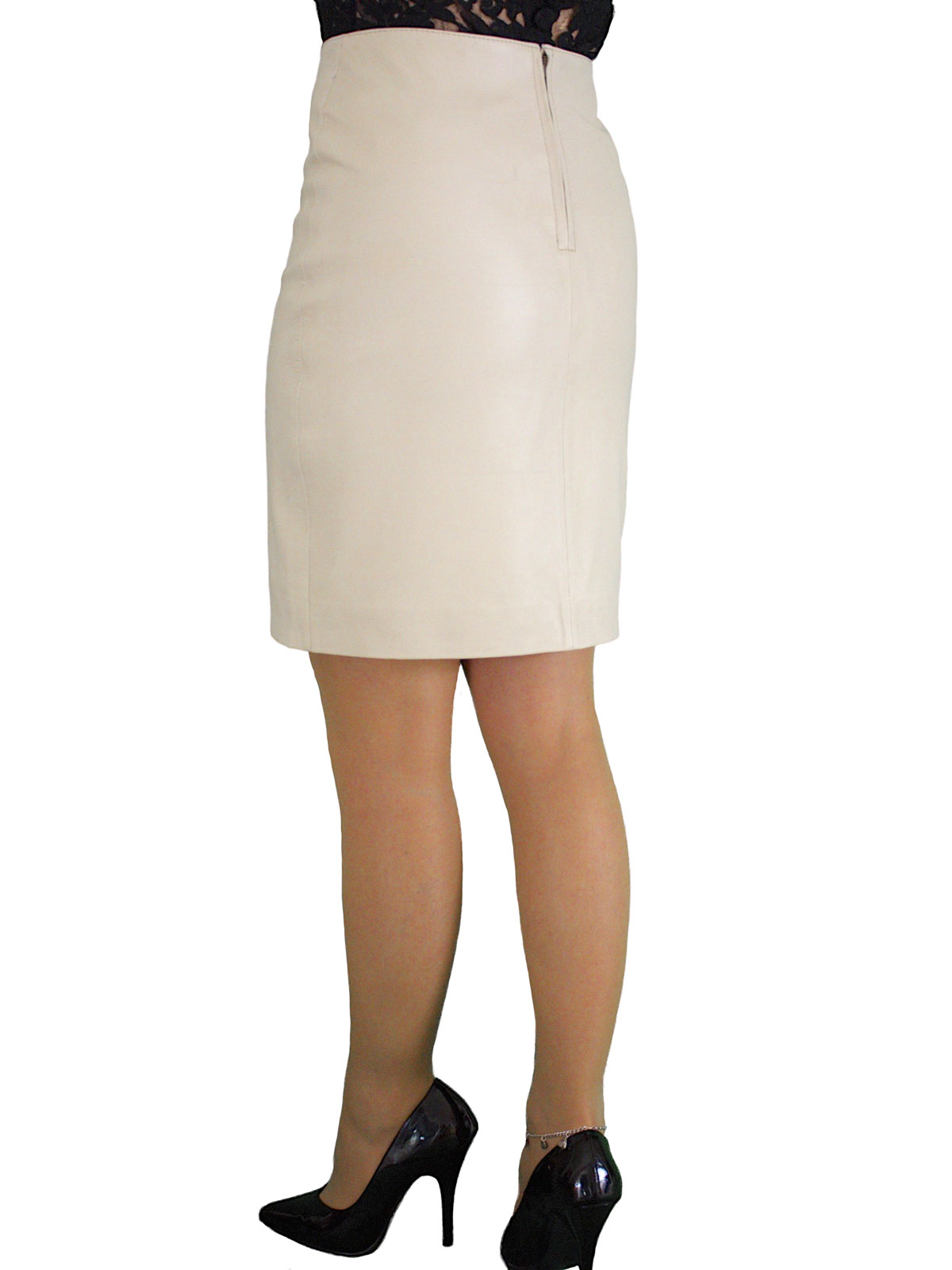 Luxury Leather Pencil Skirt, above knee 19in length - Tout Ensemble