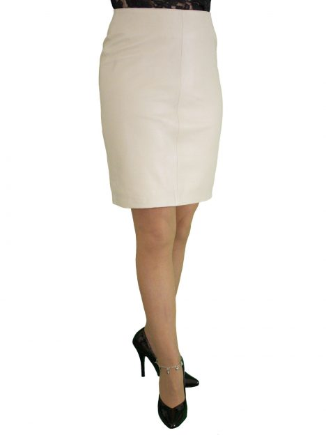 Beige Cream Leather Pencil Skirt 19in